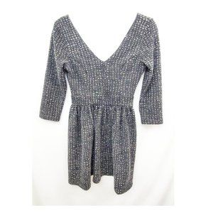 ALYA Boutique Tweed Double-V Knit Flare Dress EUC